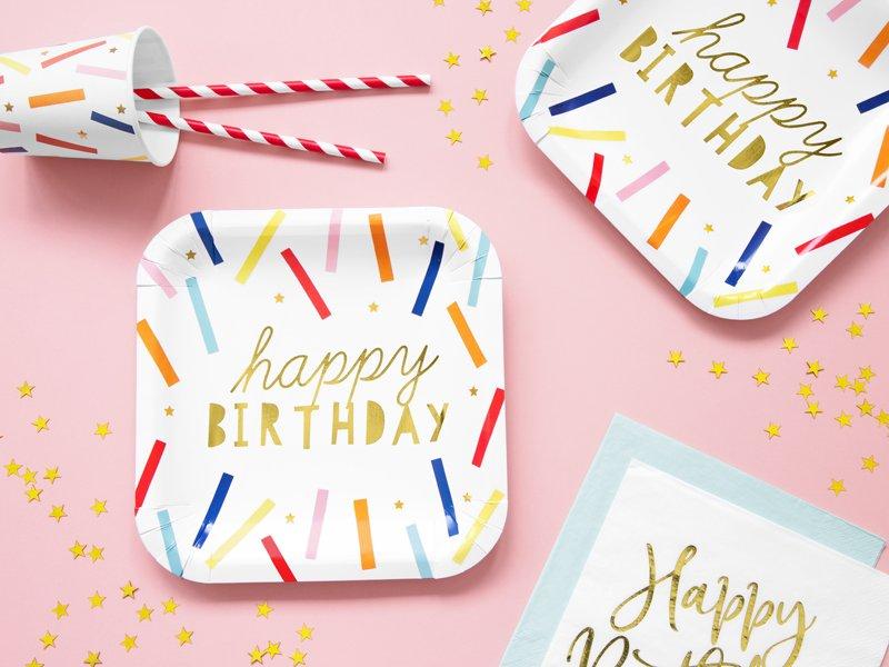 <b>Platos de Papel Happy Birthday</b> <br> 20 x 20 cm
